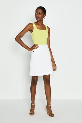 Coast Cotton Sateen Button Detail A Line Skirt