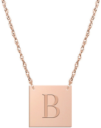 Jane Basch 14K Rose Gold Block Initial Square Necklace (A-Z)