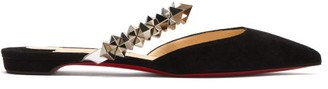 Christian Louboutin Planet Choc Spiked-strap Suede Backless Loafers - Black