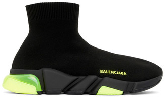 Balenciaga Black and Green Speed Sneakers