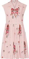 Miu Miu Embellished Cotton-jacquard Dress - Pastel pink