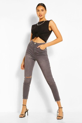 boohoo Light Grey Wash Ripped Skinny Jean
