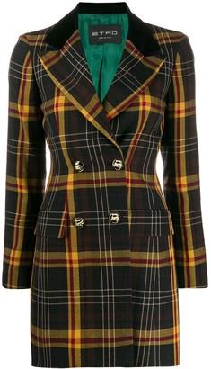 Etro Tartan Check Double Breasted Coat