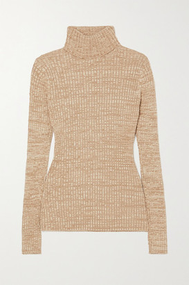 ANNA QUAN Heather Ribbed Cotton Turtleneck Sweater - Neutral