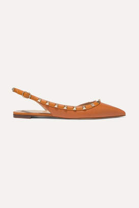 Valentino Garavani The Rockstud Textured-leather Slingback Flats - Tan
