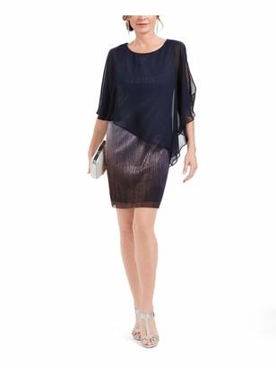 Connected Apparel Womens Purple Glitter Ombre Sleeveless Jewel Neck Short Sheath Cocktail Dress UK Size:12