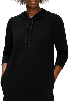 Eileen Fisher Hooded Three-Quarter Sleeve Sweater Dress