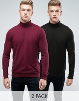 Asos 2 Pack Cotton Roll Neck Sweater In Burgundy/Black SAVE