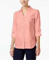 Charter Club Linen Beaded Embroidered Shirt, Created for Macy's