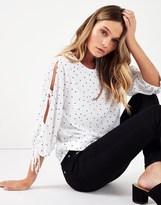 Fashion Union Spotty Bow Sleeve Top
