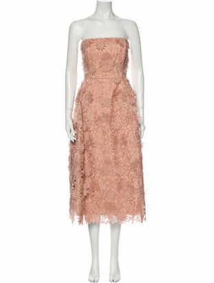 Nicholas Strapless Midi Length Dress Pink