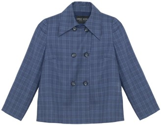 Lindsay Nicholas New York Double-Breasted Jacket In Hickey Blue Plaid