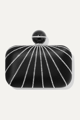 Jimmy Choo Cloud Crystal-embellished Satin Clutch - Black