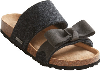 Shepherd of Sweden - Ladies 'Elisabet' Bow Front Two Strap Sandal in 100% felted wool - UK 4 | EU 37 - Black