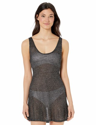 BCBGMAXAZRIA Women's Sheer Tank Racer Back Shimmer Dress Cover-Up