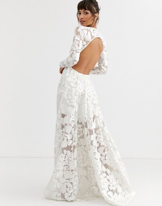 Asos Edition EDITION wedding dress with open back and floral embroidery-White