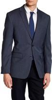 Vince Camuto Blue Woven Two Button Notch Lapel Trim Fit Wool Jacket