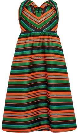 DELPOZO Strapless Striped Jacquard Dress