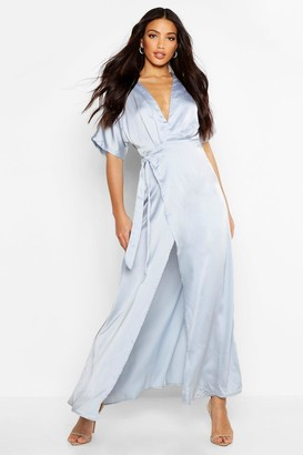boohoo Boutique Kimono Maxi Satin Bridesmaid Dress