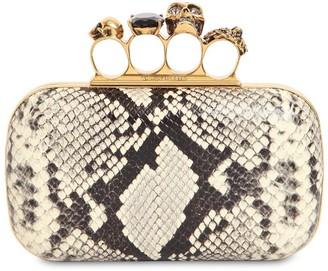 Alexander McQueen Skull Ring Python Print Leather Clutch