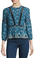 Veronica Beard Cabo Boho Paisley Silk Blouse, Blue