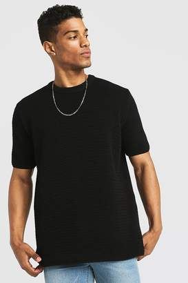 boohoo Loose Fit Waffle Stitch Knitted T-Shirt