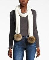Calvin Klein Ribbed Faux-Fur Pom Pom Scarf