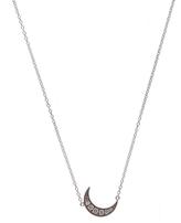 Andrea Fohrman Mini White Gold Crescent Moon Necklace