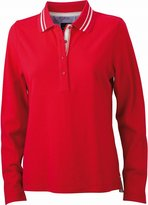 James & Nicholson Women's Jn967 Long Sleeve Polo Shirt Xx-Large Red/Off White
