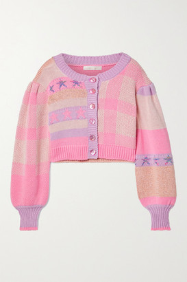 LoveShackFancy Bedford Cropped Cotton-blend Jacquard Cardigan - Baby pink