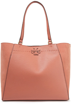 Tory Burch Suede-paneled Pebbled-leather Tote