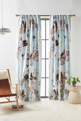 Anthropologie Embroidered Velvet Elan Curtain By in Blue Size 50X63