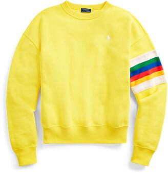 Ralph Lauren Rainbow-Trim Fleece Sweatshirt
