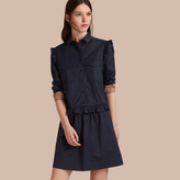 Burberry Ruffle and Check Detail Cotton Shirt Dress