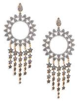 Azaara Pavé Crystal and 22K Yellow Gold Sterling Silver Chandelier Earrings