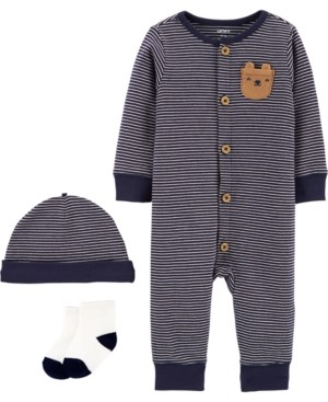 Carter's Baby Boys 3-Pc. Striped Cotton Coverall, Hats & Socks Set