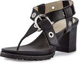 Etienne Aigner Francis Buckle Leather Thong Sandal, Black