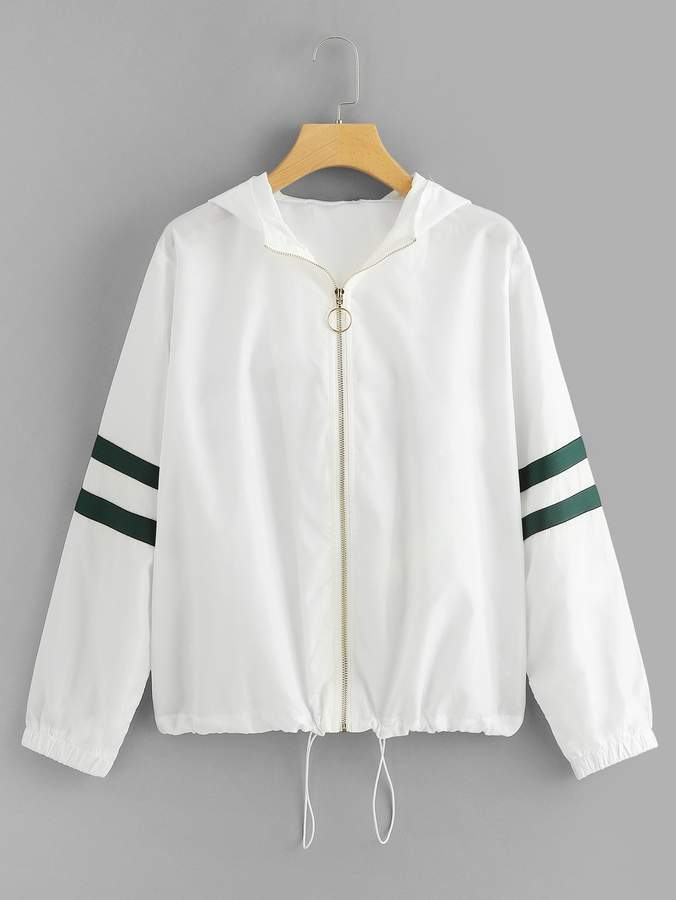 Drawstring Hem O-Ring Zip Up Jacket