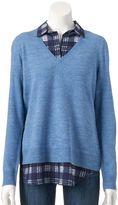 Croft & Barrow Women's Mock-Layer V-Neck Sweater