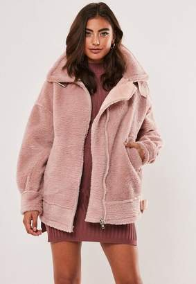Missguided Pink Ultimate Oversized Faux Fur Aviator Jacket