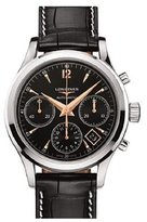 Longines Men's Black Leather Band Steel Case Automatic Chronograph Watch L27504560