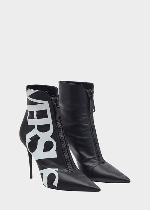 Versace Versus Logo High Heel Eco Leather Boots