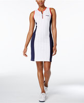 Fila Crystal Striped Mesh-Trimmed Dress