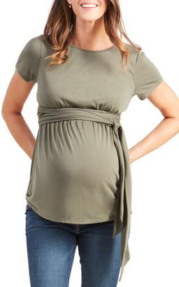 Ingrid & Isabel Short Sleeve Tie Waist Maternity/Nursing Top