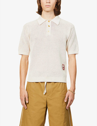 Gucci GG-embroidered cotton-knit polo shirt