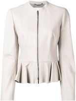 HUGO BOSS peplum hem jacket - women - Lamb Skin/polyester - 40
