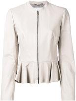 HUGO BOSS peplum hem jacket - women - polyester/Lamb Skin - 40