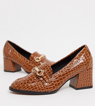 ASOS DESIGN Wide Fit Skylar mid-heeled loafers in tan croc