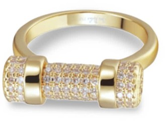 Opes Robur Pave Gold D Ring