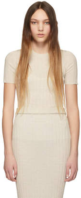 Helmut Lang Off-White Slash Short Sleeve Sweater
